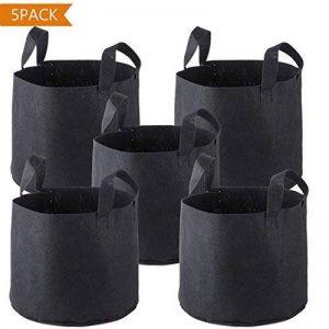 Plantation Sacs(5Pcs),PEMOTech 5 gallons de pots de tissus non tissés respirants haut de gamme avec poignées de sangle pour jardin d'élevage et plantation, sac de jardinière respectueux de l'environnement avec le meilleur traitement de racines (Noir) de l image 0 produit