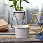 Pot de fleurs pour l'intérieur Y&M(TM) -11,6cm - Moderne -Pot rond en céramique blanche avec support en métal -Pour les plantes succulentes, les plantes grimpantes, les cactus White+Gold de la marque Y&M image 4 produit