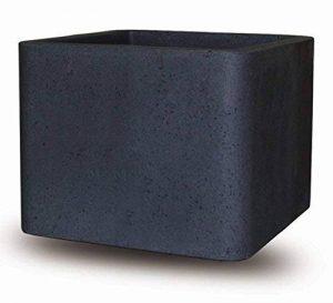 Pot de fleurs Smart-Planet® - En plastique de qualité supérieure - 30 x 30 cm - Avec aspect pierre - Noir granite - De forme carrée de la marque Smart Planet image 0 produit