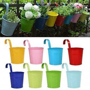 Pots de Fleurs, RIOGOO Pot de fleur Suspendus,Pots de Jardin Balcon Seau en métal Porteurs de fleurs - Crochet amovible (8 pièces) de la marque RIOGOO image 0 produit