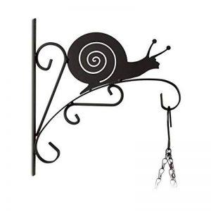 Relaxdays Crochet mural pour plantes escargot suspensions pot de fleurs en métal décoration de jardin HxlxP 30 x 28 x 2 cm, noir de la marque Relaxdays image 0 produit