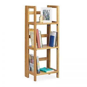 Relaxdays Etagère en bambou 3 niveaux pliante meuble bois 3 étages pliant salle de bain HxlxP: 95 x 36 x 30 cm, nature de la marque Relaxdays image 0 produit