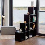 Relaxdays Etagère escalier 10 compartiments bibliothèque escalier armoire séparateur pièce, noir de la marque Relaxdays image 1 produit