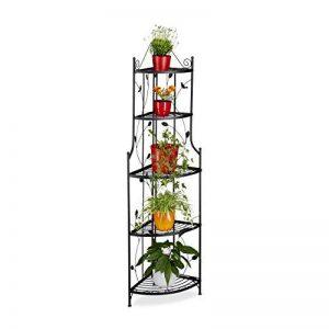 Relaxdays Etagère à fleurs de coin en métal 5 niveaux GOTH meuble plantes pliable présentoir HxlxP: 160 x 36 x 36 cm, noir de la marque Relaxdays image 0 produit