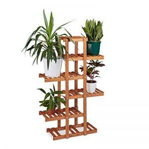 Relaxdays Etagère à fleurs en bois escalier pour plantes 5 niveaux échelle plantes intérieure HxlxP: 125 x 81 x 25 cm marron clair de la marque Relaxdays image 0 produit