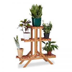 Relaxdays Etagère à fleurs en bois escalier pour plantes échelle 3 étages 5 places HxlxP: 82,5 x 83 x 28,5 cm brun clair de la marque Relaxdays image 0 produit