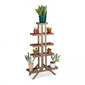 Relaxdays Etagère à fleurs en bois escalier pour plantes échelle plantes intérieur HxlxP: 142,5 x 83 x 28,5 cm brun foncé de la marque Relaxdays image 0 produit