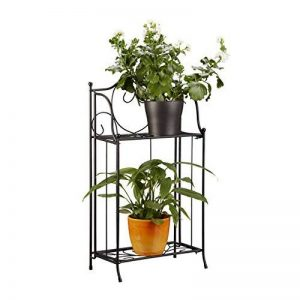 Relaxdays Etagère à fleurs en métal 2 niveaux support plantes extérieur balcon terrasse jardin HxlxP: 64,5 x 33,5 x 18 cm, noir de la marque Relaxdays image 0 produit