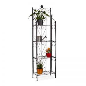 Relaxdays Etagère à fleurs en métal 4 niveaux meuble plantes pliable présentoir HxlxP 157 x 44 x 24 cm, noir de la marque Relaxdays image 0 produit
