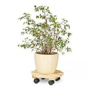 Relaxdays Porte plante à roulettes rond support en bois planche avec 4 roues pot de fleurs HxlxP: 9 x 29,5 x 29,5 cm, nature de la marque Relaxdays image 0 produit