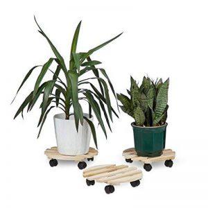 Relaxdays Porte plantes à roulettes lot de 3 support pour pot de fleurs en bois ronds avec roues 30 kg pour tous les sols HxlxP: 7,5 x 35 x 35 cm, nature de la marque Relaxdays image 0 produit