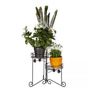 Relaxdays Porte plantes support pot de fleurs 3 étages 50 cm de hauteur décoratif, noir de la marque Relaxdays image 0 produit