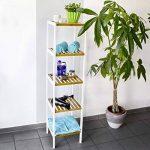 Relaxdays Étagère en Bambou avec 5 Niveaux HxlxP : 144 x 34,5 x 33 cm étagère de salle de bain debout rangement en bois naturel étagère de cuisine sur pied, blanc nature de la marque Relaxdays image 1 produit