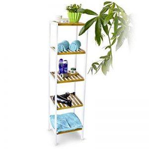 Relaxdays Étagère en Bambou avec 5 Niveaux HxlxP : 144 x 34,5 x 33 cm étagère de salle de bain debout rangement en bois naturel étagère de cuisine sur pied, blanc nature de la marque Relaxdays image 0 produit