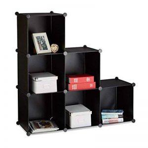 Relaxdays Étagère escalier 6 compartiments meuble bibliothèque séparation multi-cases séparateur de pièces, noir de la marque Relaxdays image 0 produit
