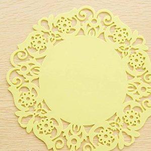 Rou0nd Gel de silice Coaster Dentelle Fleurs Coussin à café Coussins isolants Dessous de verre antidérapant Assiettes à vaisselle grandes Assiette à couverts Moyen petit 10 en 1 de la marque Limiz image 0 produit