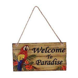 Sharplace Plaque Bois Bienvenu Peinture Perroquet Coloré avec Cord Jute Suspendu Déco Hawaïen - Welcome to paradise de la marque Sharplace image 0 produit