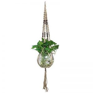 Suspension en macramé avec support à 4pieds pour pot de fleurs rétro avec perles en bois, corde en jute, faite main, pour plante araignée et artificielle, intérieur extérieur 43 inches de la marque G2PLUS image 0 produit