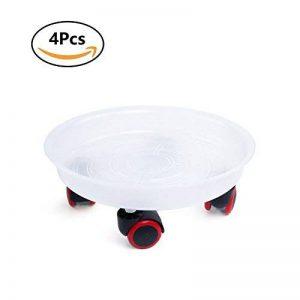 T4U 30CM rond roule-pot avec 4 roulettes en plastique pour porte plante lot de 4, déplacer avec roullettes support plante Chariot plantes avec roues de la marque T4U image 0 produit