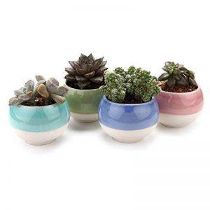 T4U 7.5CM Pots En Céramique Série de balle /Plante Succulente/Plante en Pot/Cactus/Pot De Fleur/Cultiver 1 Paquet de 4 de la marque T4U image 0 produit