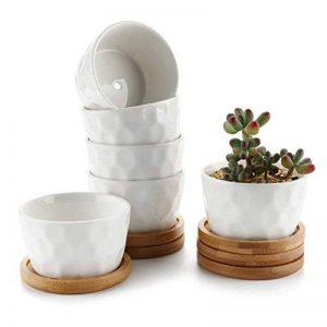 T4U 8CM Pot de Fleurs Rond en Céramique Blanc /Pots de Fleurs de Plante / Récipient avec Plateau en Bambou - Paquet de 6 de la marque T4U image 0 produit