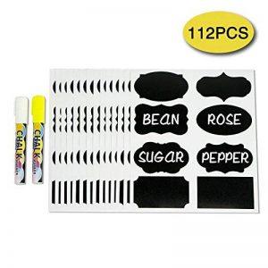 Tableau noir étiquettes 112pcs étanche Craie Stickers pour meuble de cuisine Pantry Mason bocaux, pots à épices, verre avec Bonus effaçable Blanc et Jaune marqueurs à craie de la marque CAXXA image 0 produit
