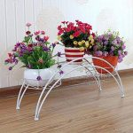 Étagère de Pots de Fleurs Plantes Arche en Métal Fer Forge pour Décoration Maison Jardin Blanc-Dazone® de la marque Dazone image 1 produit