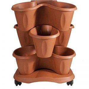 takestop trèfle porte pots jardinière couleur terre cuite en plastique Triptyque superposable 3niveaux 36x 33x 12cm avec soucoupe pour plantes fleurs de la marque takestop image 0 produit