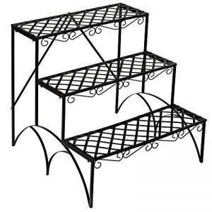 TecTake Etagère de jardin pour plantes escalier en fer 3 niveaux env. 60x60x60cm - charge max: env. 30 kg de la marque TecTake image 0 produit