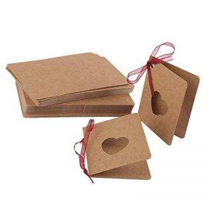 ULTNICE 50pcs Kraft papier Lable carte cadeau de remerciement Tags avec une corde rouge pour la décoration de fête mariage anniversaire de la marque ULTNICE image 0 produit