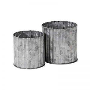 Unbekannt 2. Pot en zinc Emily Gris Shabby Chic Pot en zinc Pot de fleurs (grande + petite de la marque Unbekannt image 0 produit