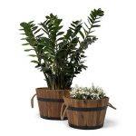 Vanage - Bac à Plantes / Fleurs en bois d'Accacia - Lot de 3 - Style Tonneau en bois parfait pour le Jardin ou comme seau en bois de la marque Vanage image 3 produit
