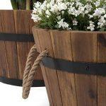 Vanage - Bac à Plantes / Fleurs en bois d'Accacia - Lot de 3 - Style Tonneau en bois parfait pour le Jardin ou comme seau en bois de la marque Vanage image 4 produit