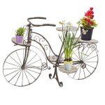 Vélo porte plante décoratif jardinière en bois chêne et fer forgé pour jardin, terrasse , véranda ou intérieur ! de la marque HESPERIDE image 1 produit