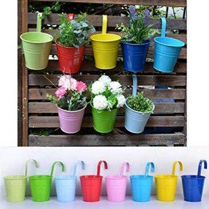 Wiiguda@LOT 8 Pots de Fleurs Suspendu Colorés en Metal Pot de fleur Extérieur Plante avec Accroche Amovible Décoration Jardin Maison Balcon de la marque Wiiguda image 0 produit