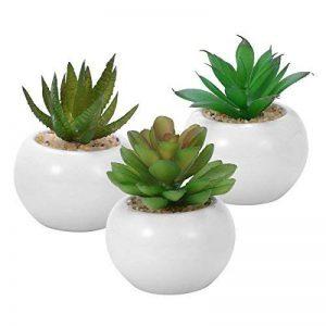 WINOMO 3pcs succulentes artificielles décoratives, Mini pot de fausses plantes avec des pots blancs de la marque WINOMO image 0 produit